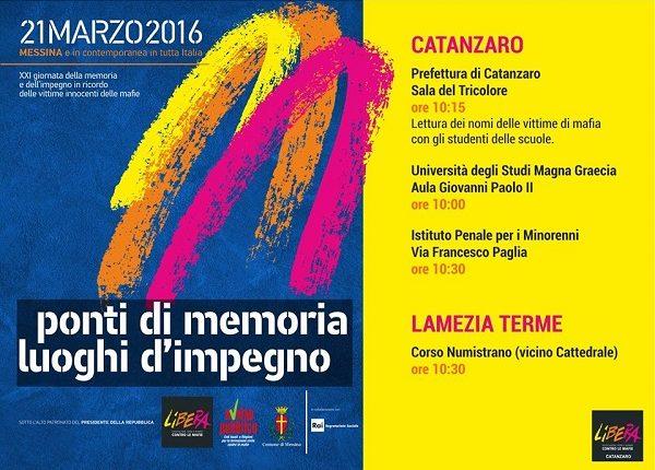 locandina XXI MARZO Catanzaro libera